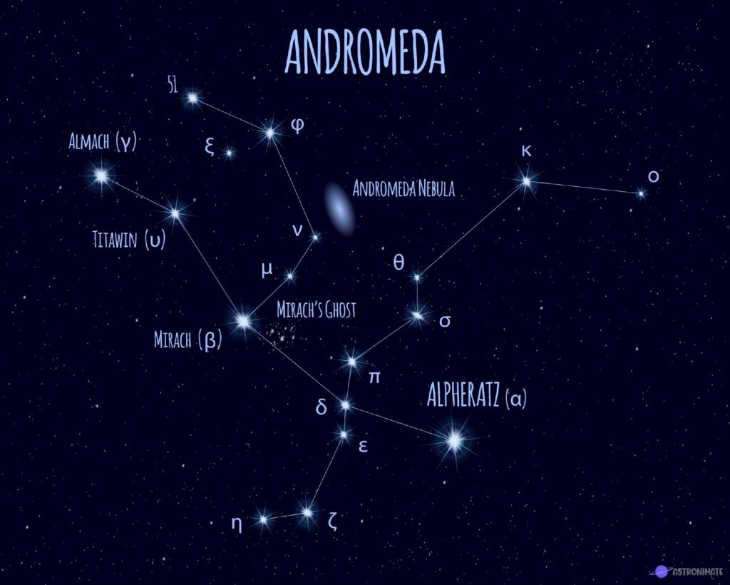 Andromeda star constellation.