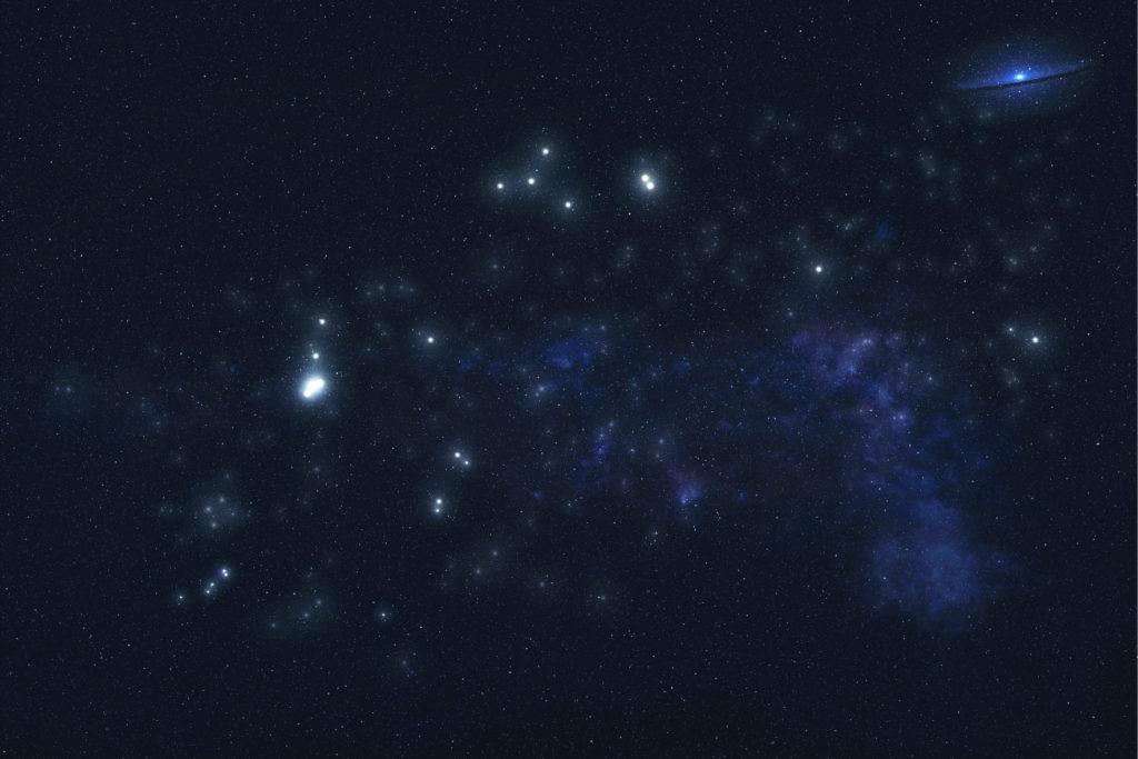 Aquarius constellation stars in outer space.