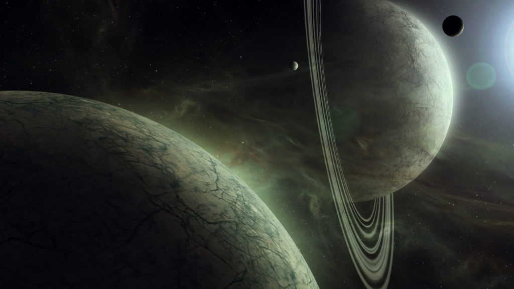 surreal space landscape with giant planets and sattelites in bright star light realistic digital illustration