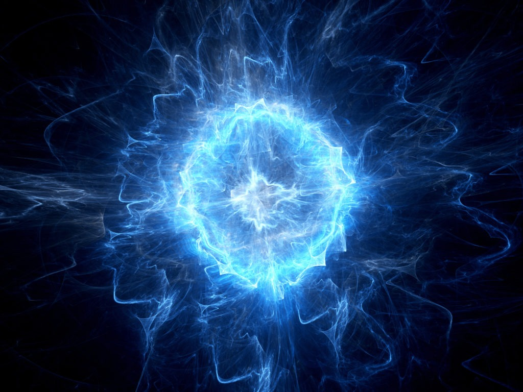 Blue glowing ball of lightning and energy.