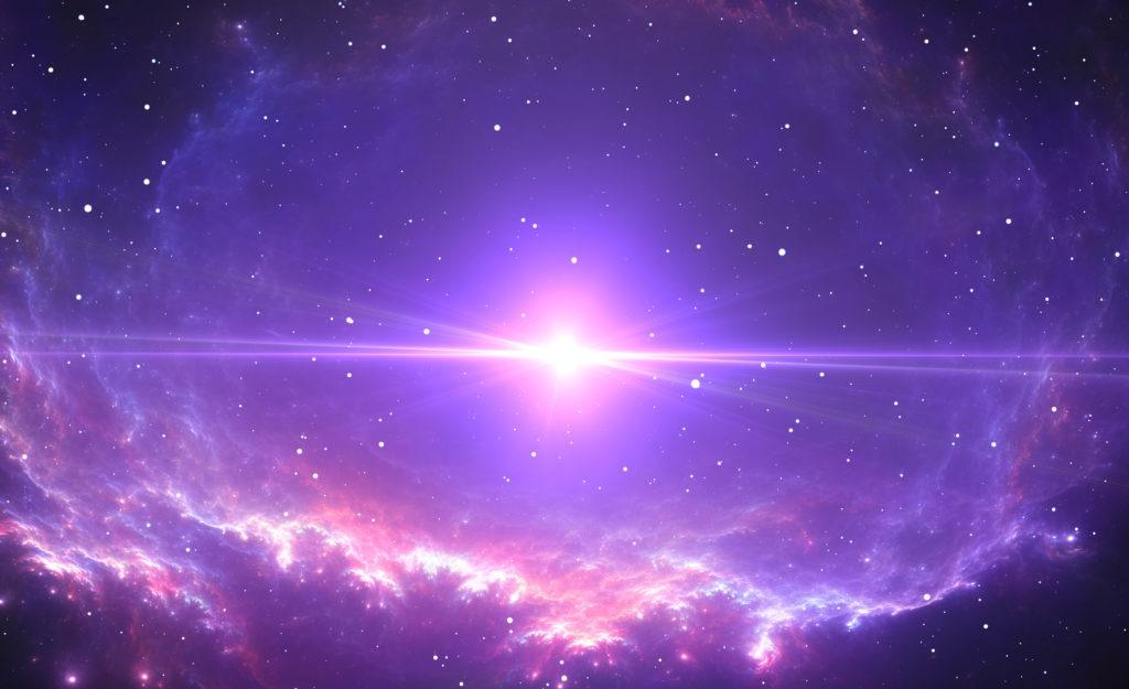 Bright supernova in the center of a colorful nebula.