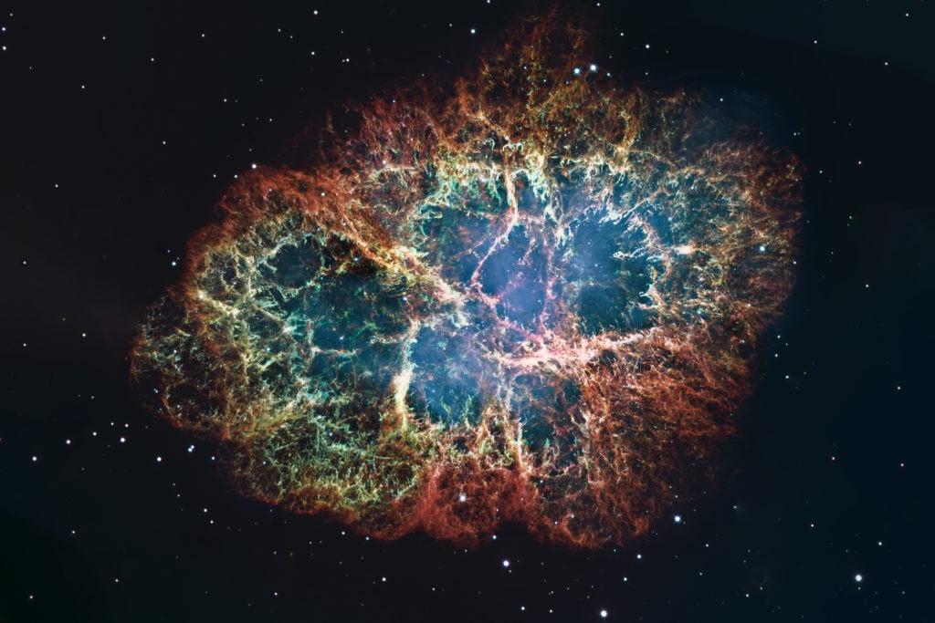 Crab Nebula in space.
