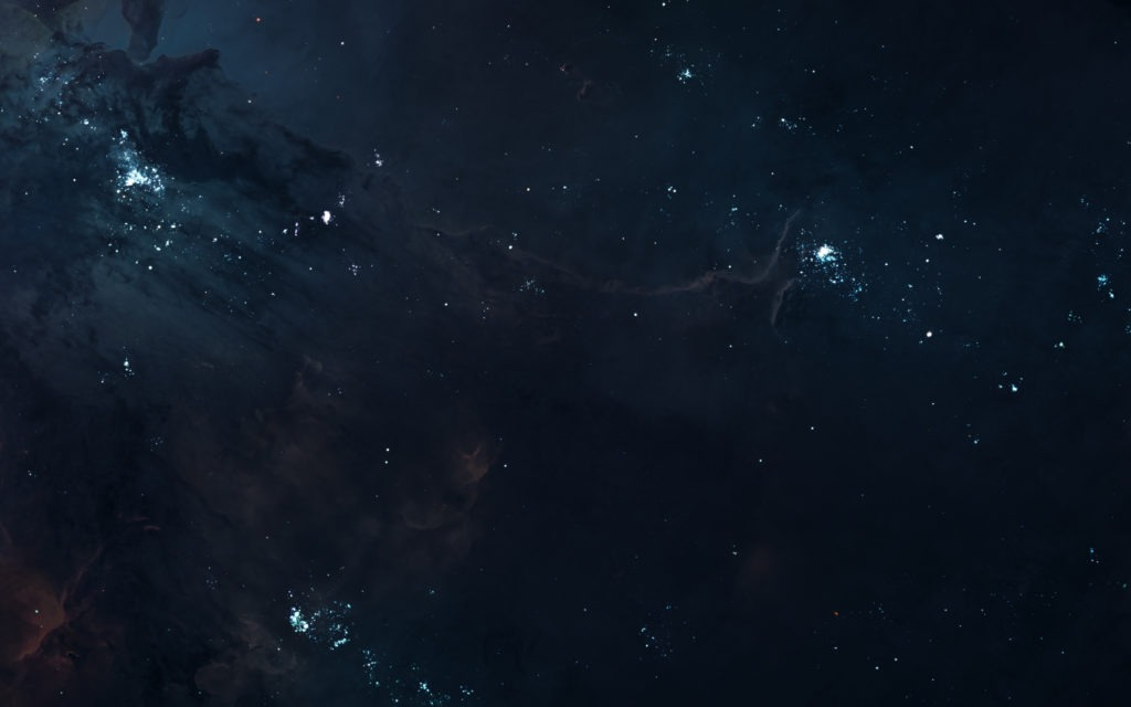 Dark deep space with star clusters.
