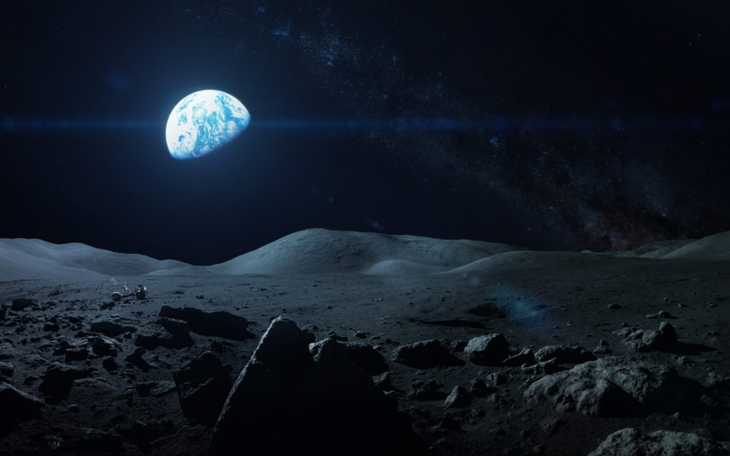 View of Earth from the dark moon.