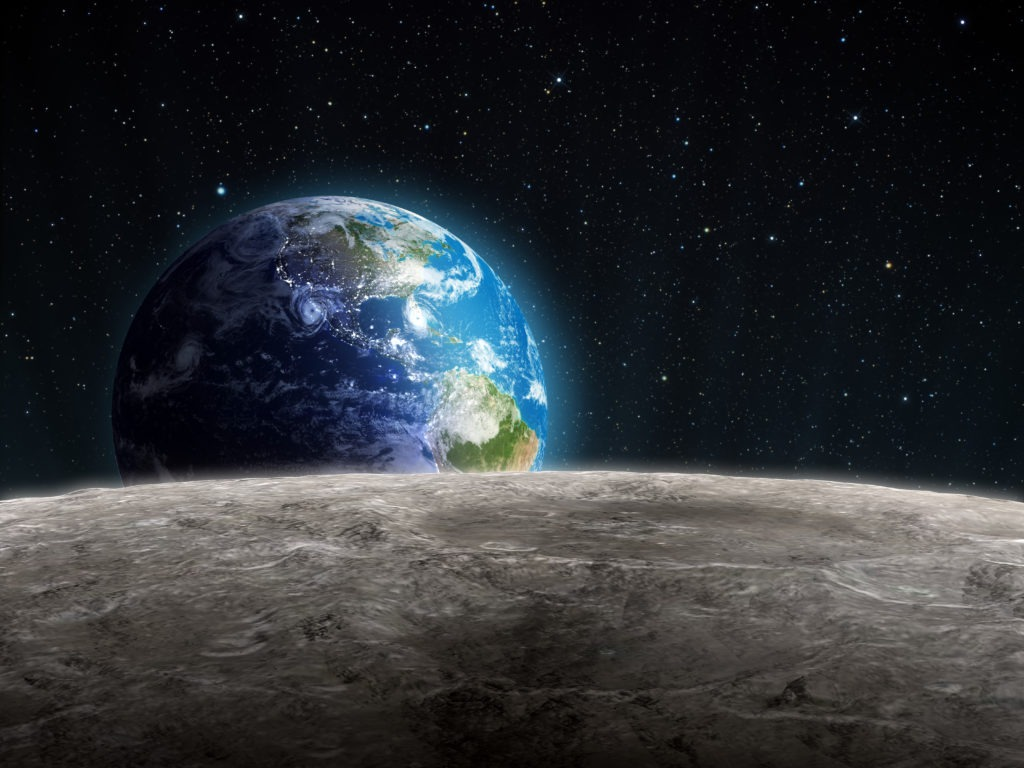 Rising Earth seen from the Moon.