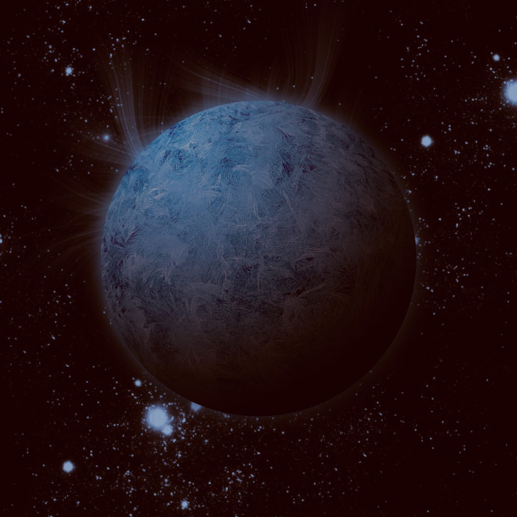 Blue white exoplanet alone in space.