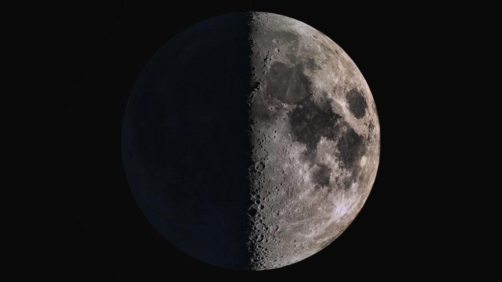 Wonderful super detailed first quarter Moon.