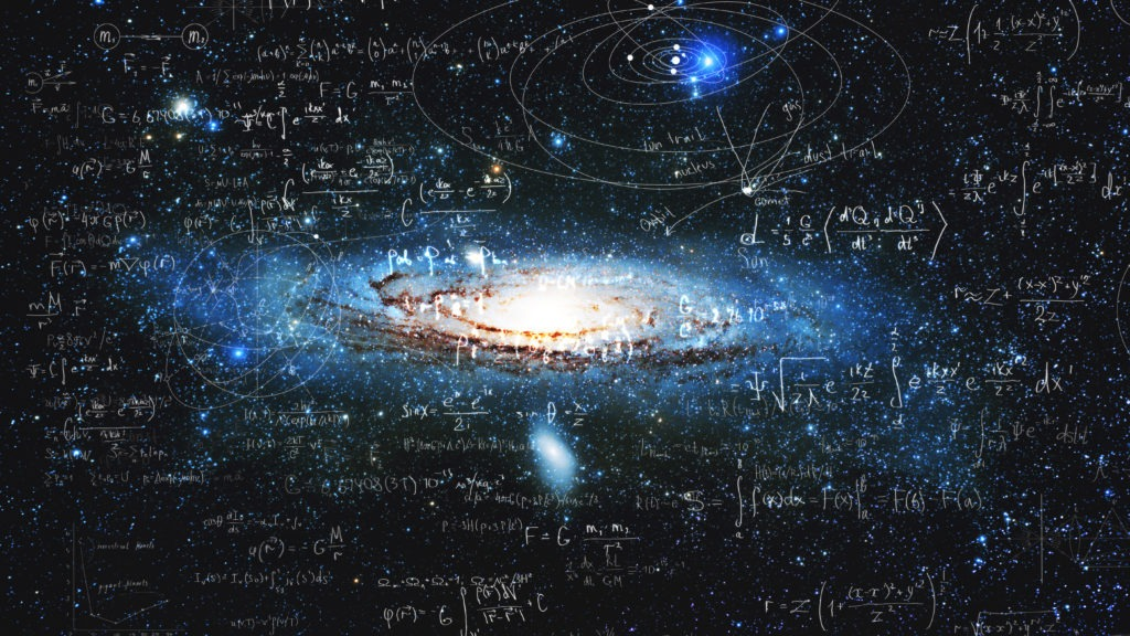 Science and research of the universe, spiral galaxy and physical formulas.