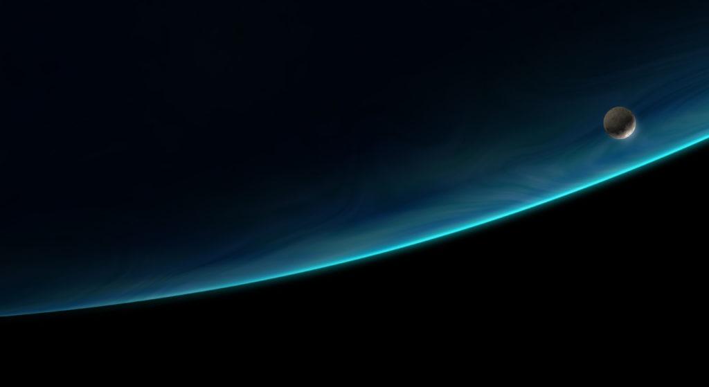 Moon orbiting a blue planet, 3d illustration.