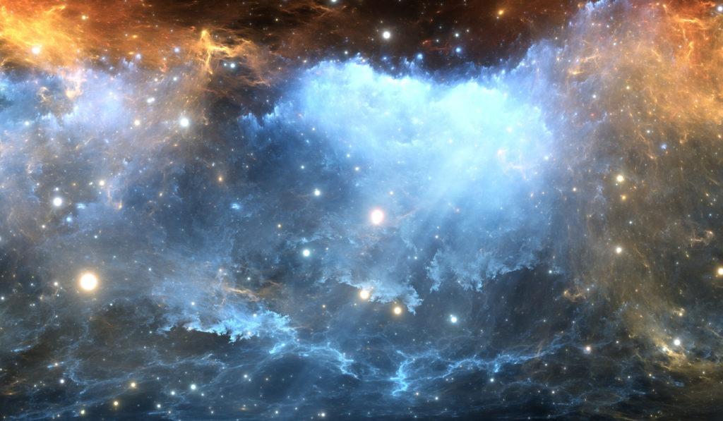Glowing blue starry nebula.
