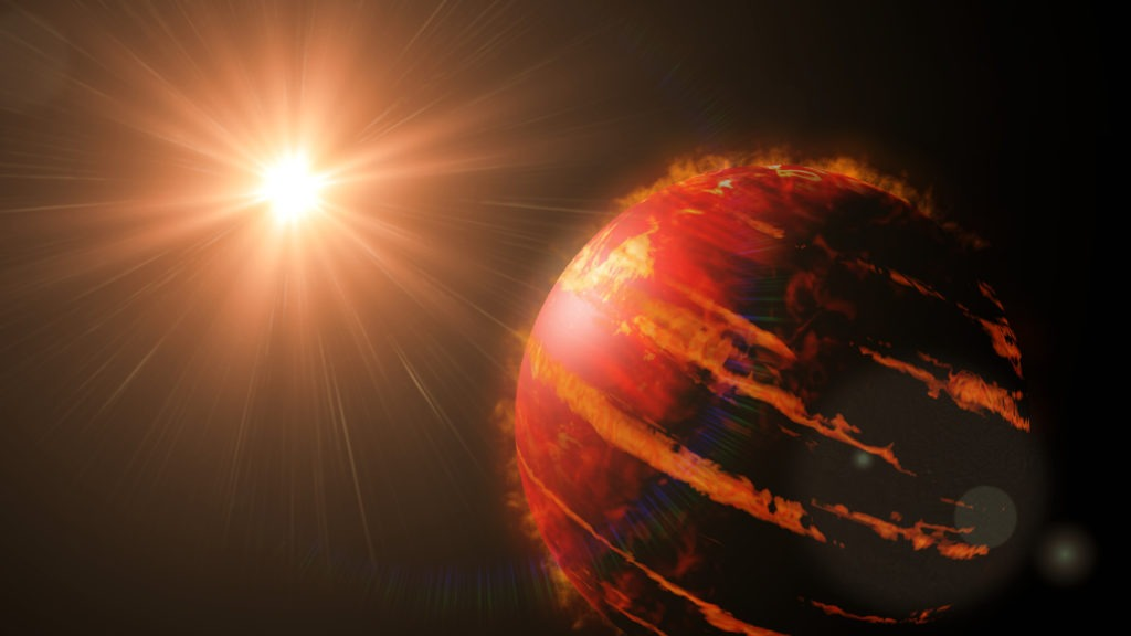 Hot Jupiter class exoplanet with star.