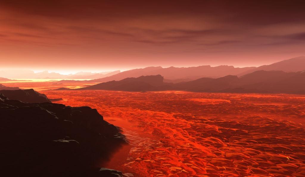 Hot lava flows on Venus.