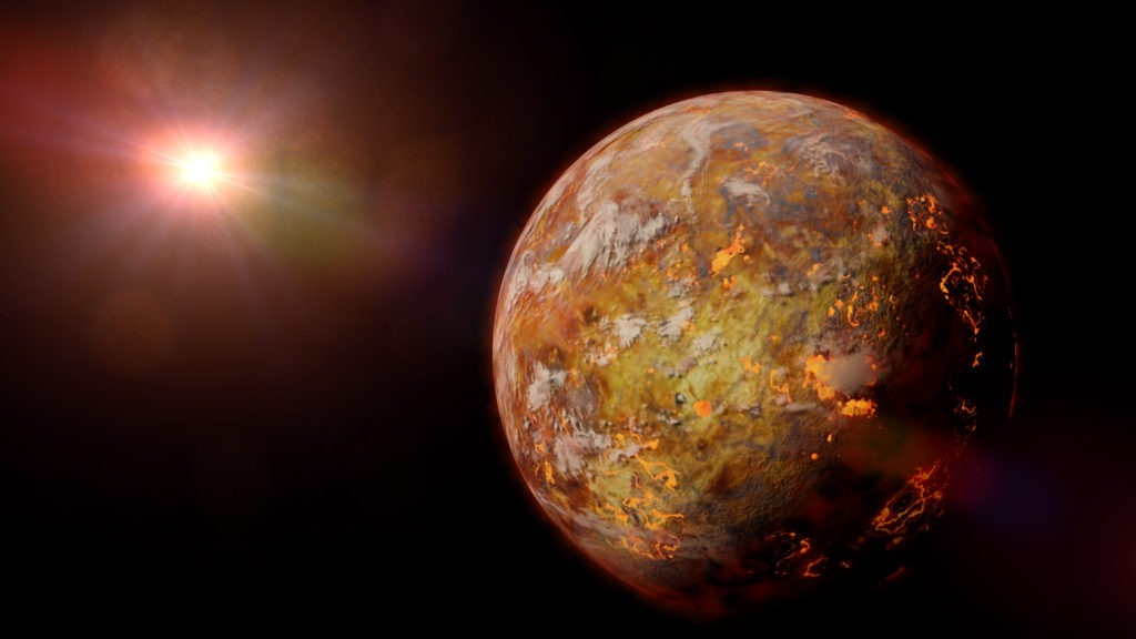 Alien planet with lava streams lit by a bright and hot star.