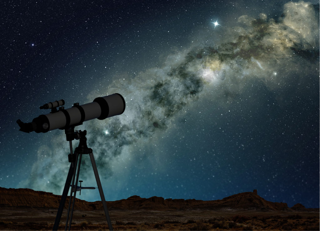 Telescope pointing to the Milky Way galaxy.