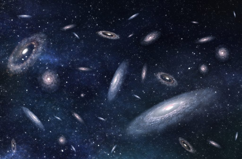 Large-scale structure of multiple galaxies.