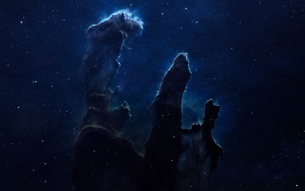 Nebula and stars in deep space, glowing mysterious universe.