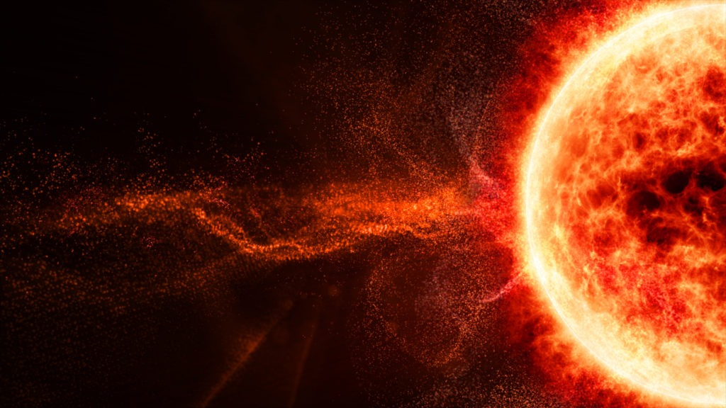 Solar flare particles.