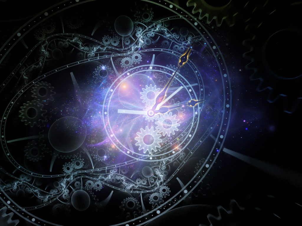 Mechanical clock dials with galaxy.