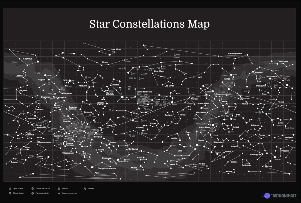 Star constellations map with all 88 officially recognized star constellations.