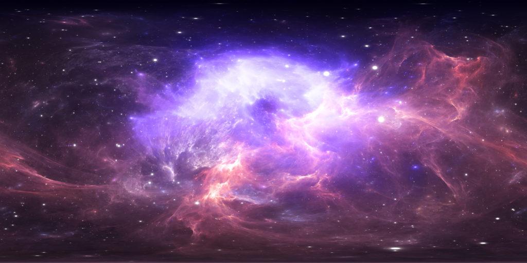 Starry purple pink nebula.