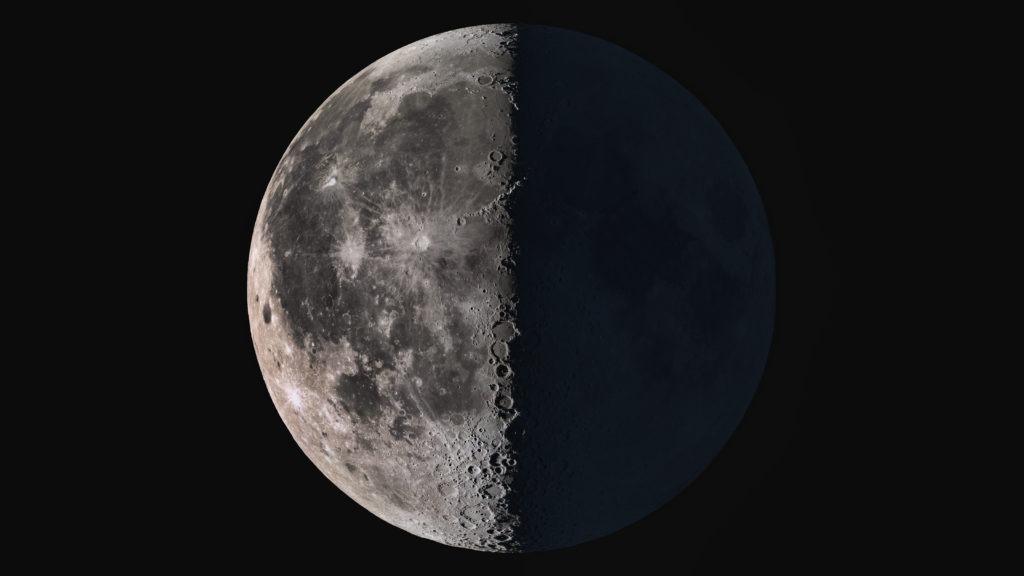Wonderful super detailed third quarter Moon.