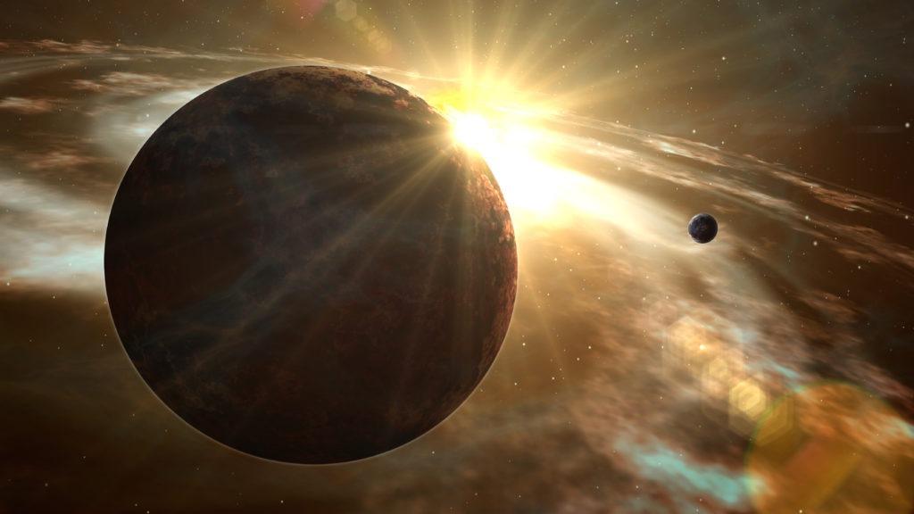 Exoplanet sunrise and cosmos exploration.
