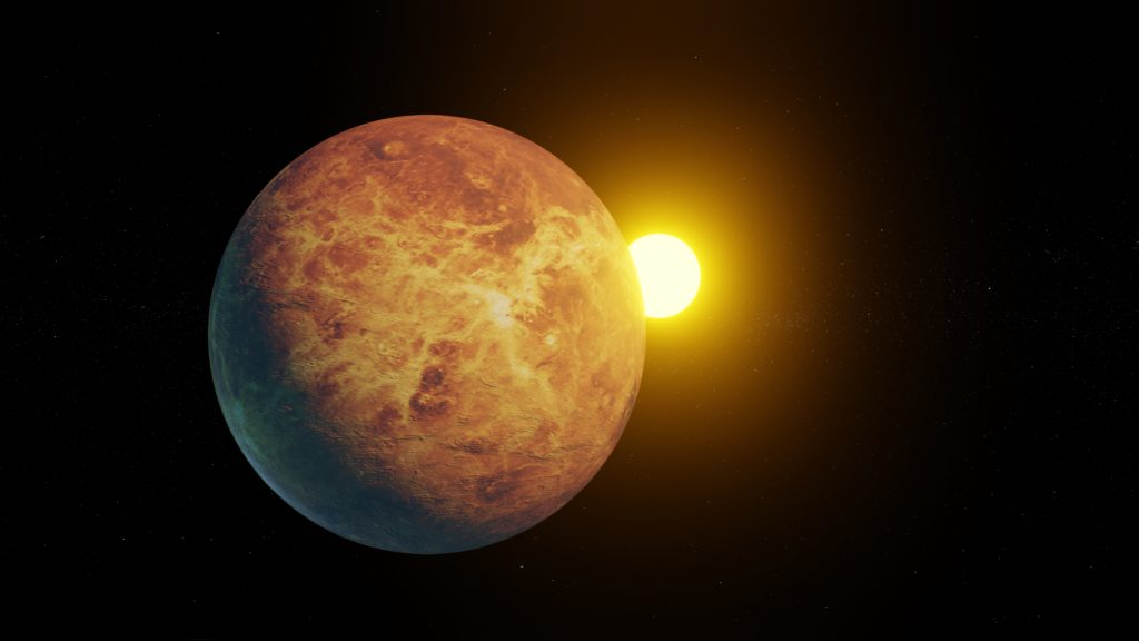 Venus with the sun on the background.