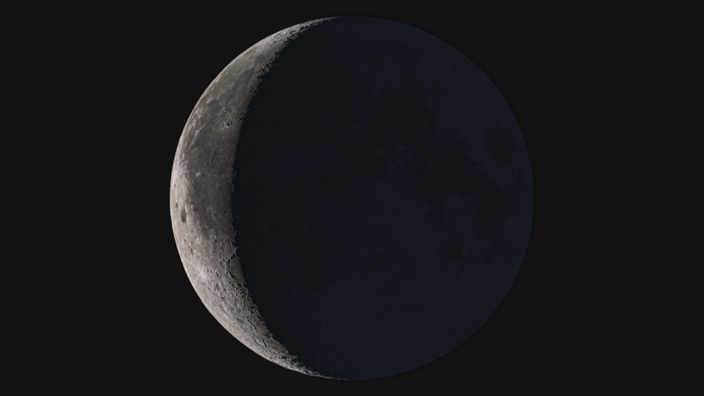 Wonderful super detailed waning crescent Moon.