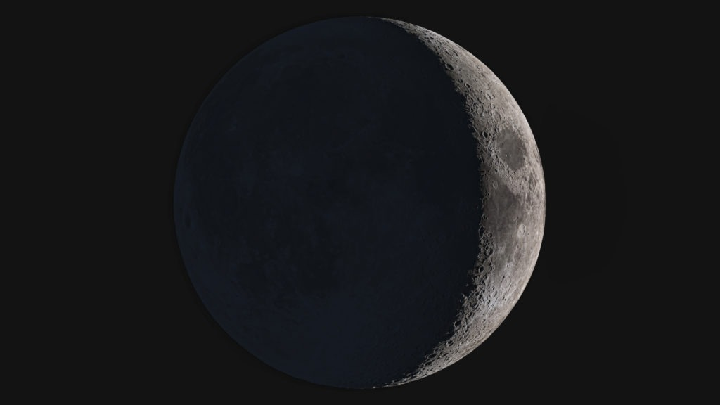 Wonderful super detailed waxing crescent Moon.