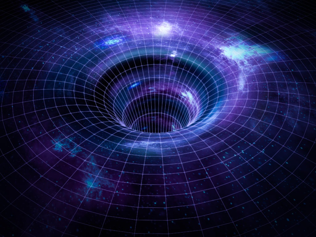 Black hole, wormhole in space.
